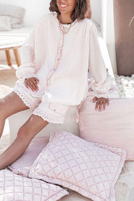 RÊVE ROSE - Pyjama en gaze de coton