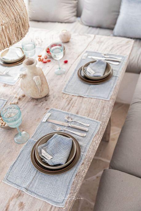 LILO Gris - Set de table en gaze de coton