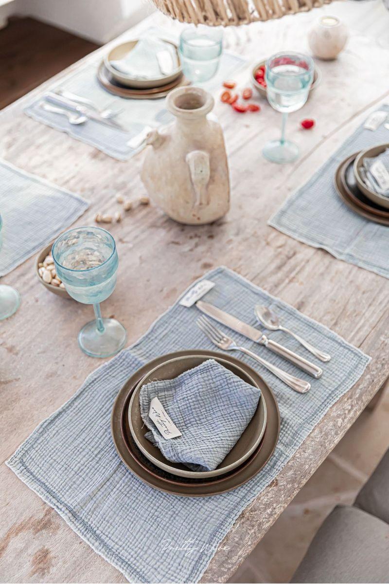 GAIA Grise - Serviette de table en gaze de coton