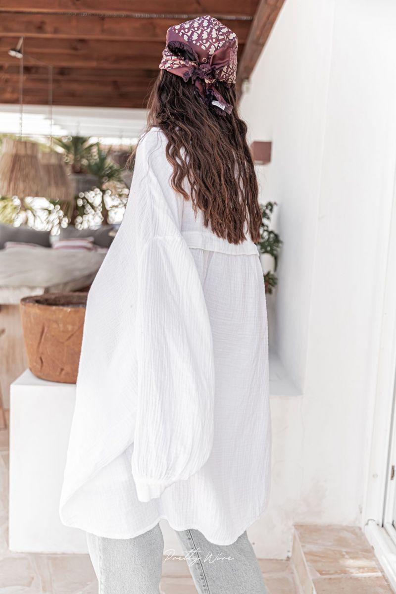 RAPHAËL Blanche - Chemise longue en Gaze de Coton