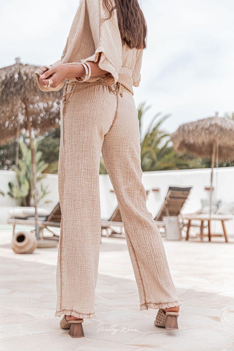 MORPHÉE Sable - Pantalon en gaze de coton