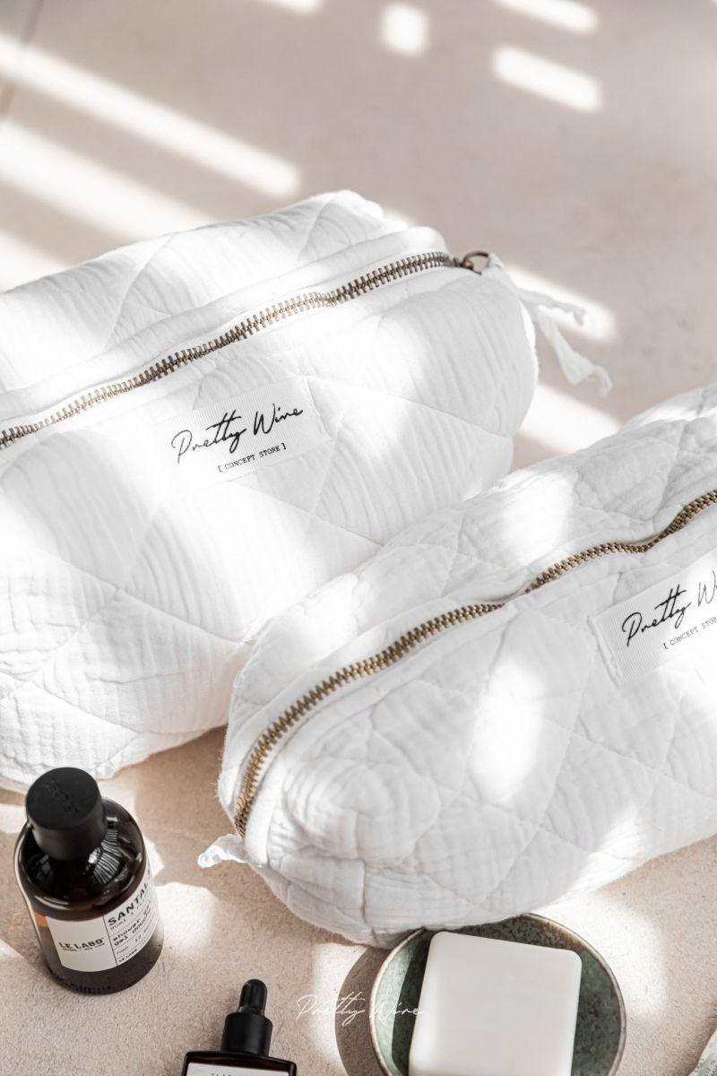 NALA Blanche - Grande trousse en gaze de coton