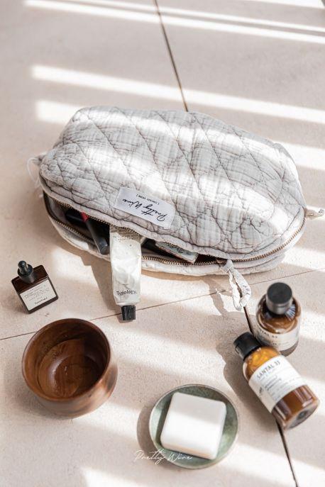 LOMA Taupe - Trousse en gaze de coton