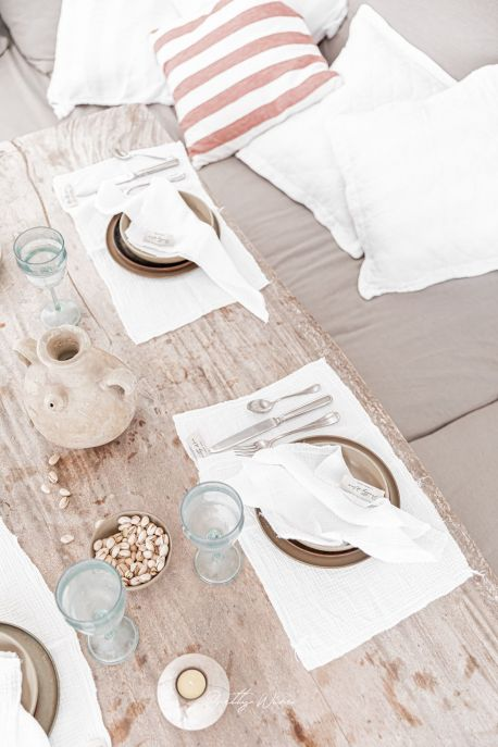 LILO Blanc - Set de table en gaze de coton