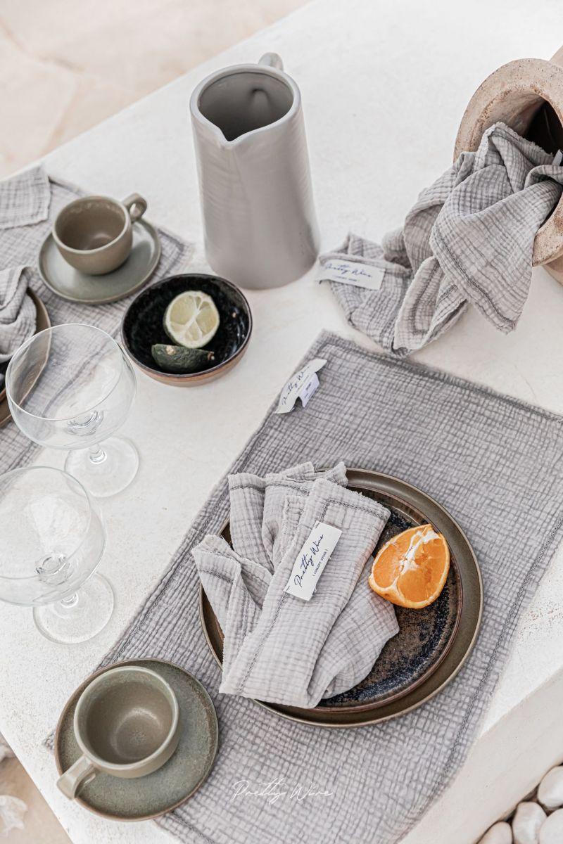 GAIA Taupe - Serviette de table en gaze de coton