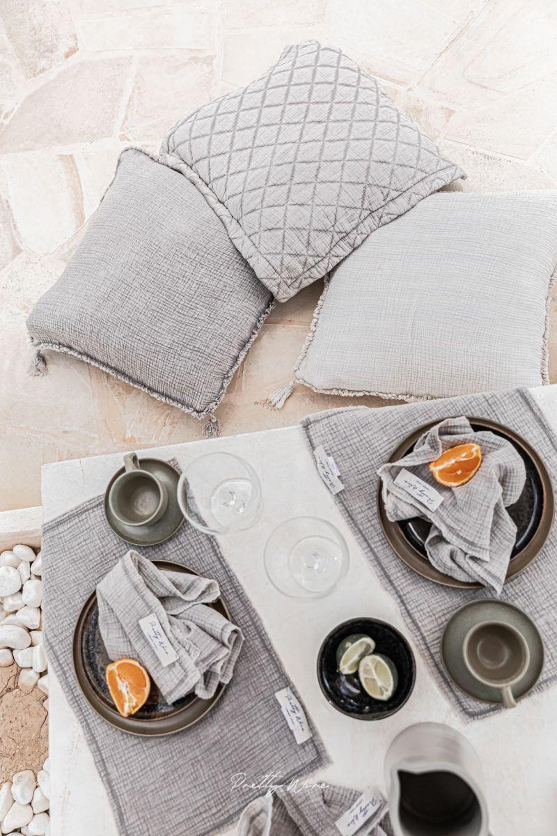 LILO Taupe - Set de table en gaze de coton