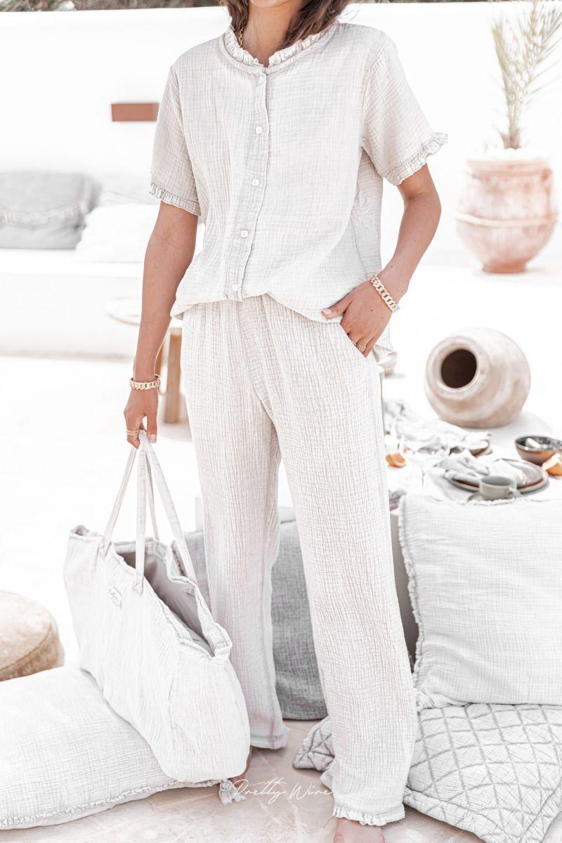 MORPHEE Beige - Pyjama en gaze de coton