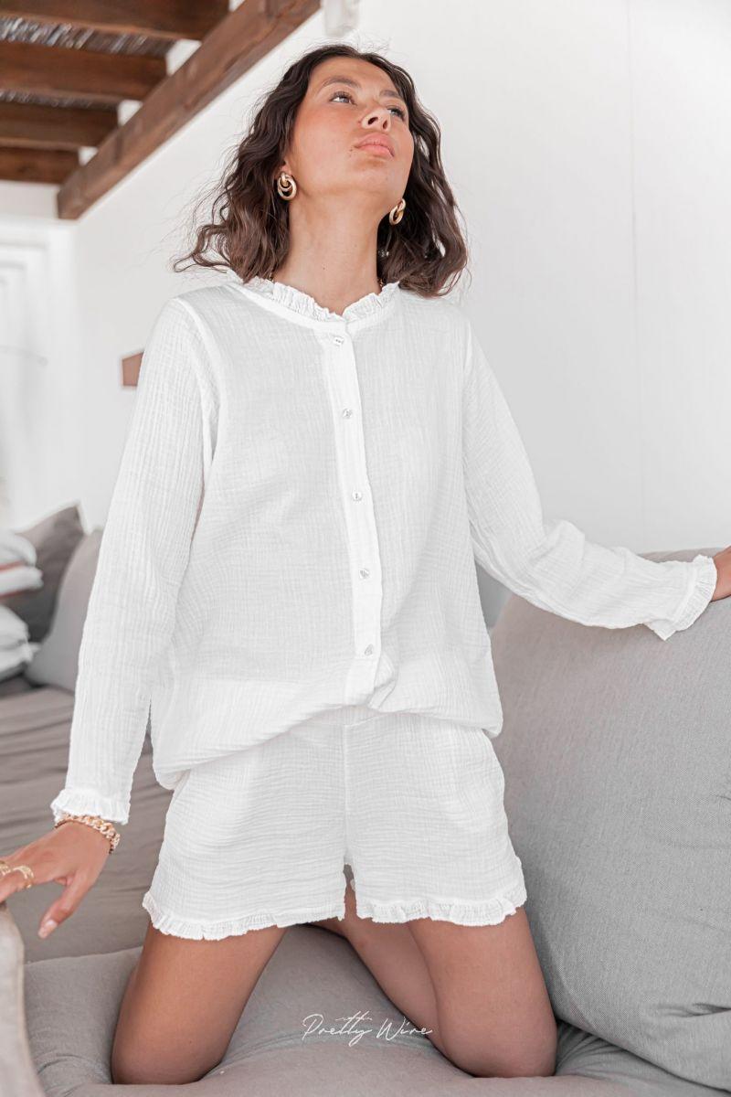 SONGE Blanc - Pyjama en gaze de coton