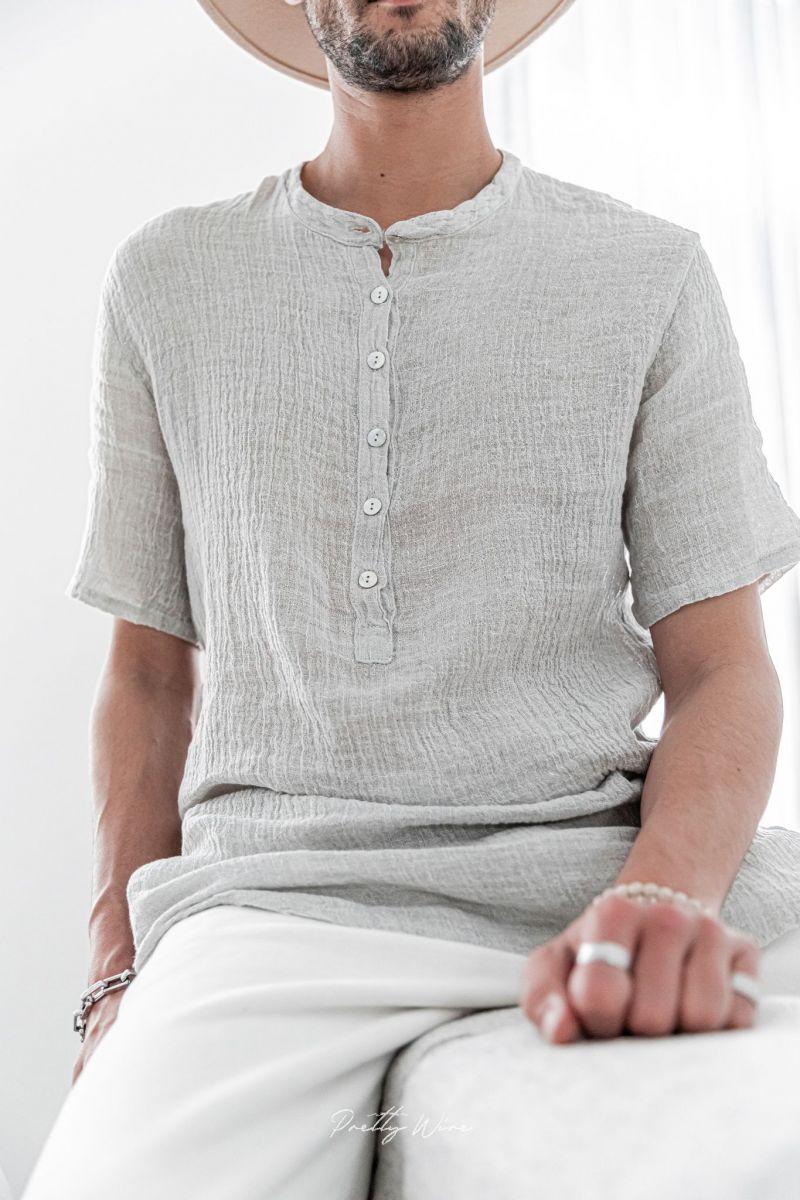 [Oris] Gris - T-Shirt en Lin
