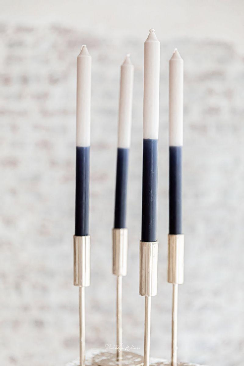 Bougie cierge bleu marine et grise