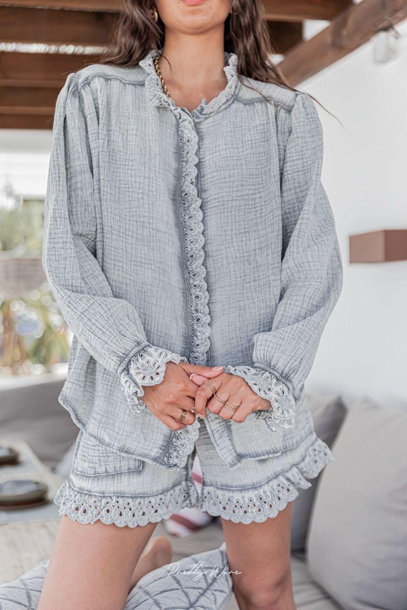 RÊVE GRIS - Pyjama en gaze de coton
