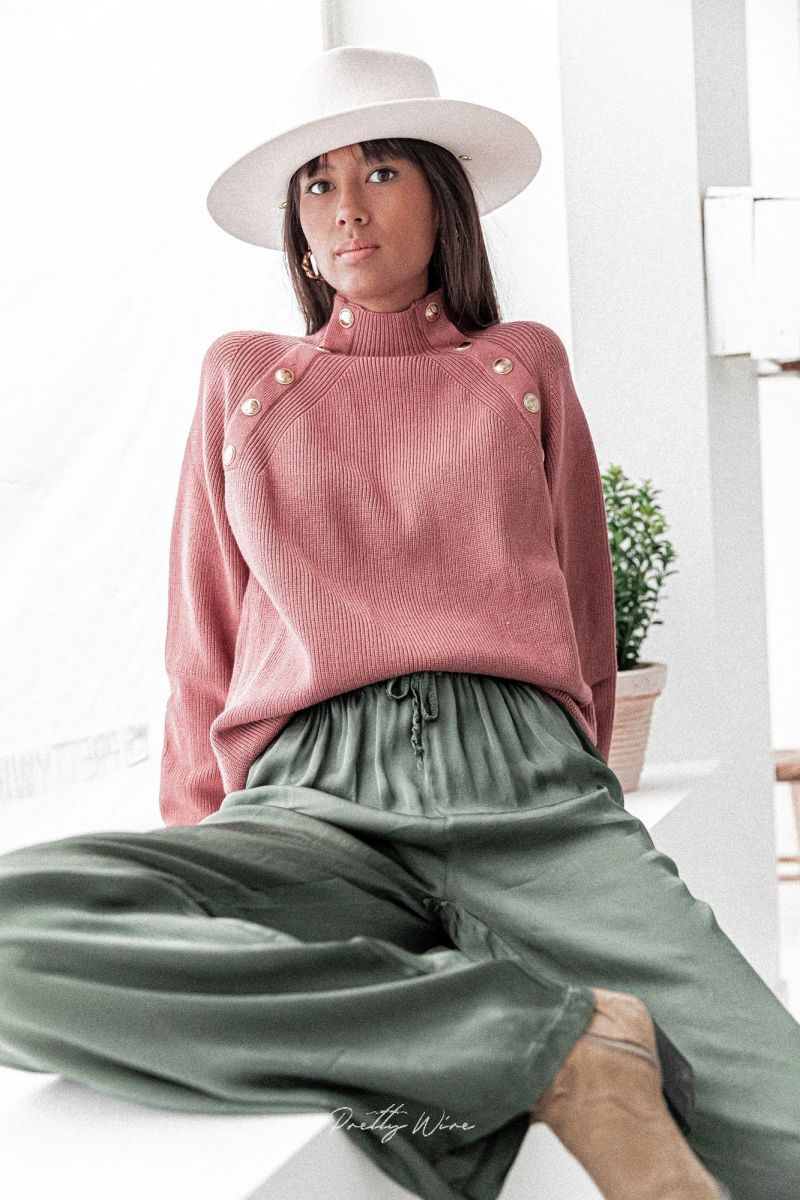 VALENIE Vieux Rose - Pull Col Montant