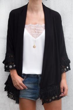 Kimono franges et pompons noir