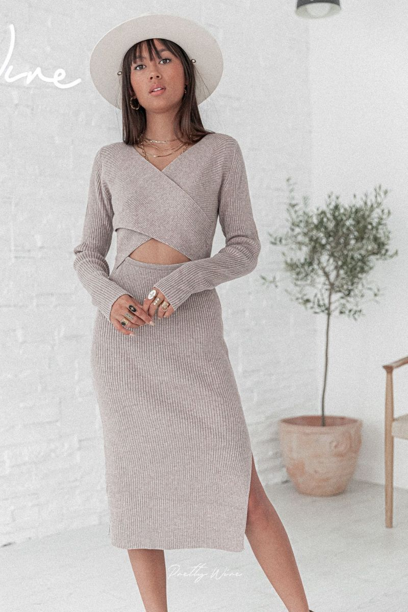 ROMY Taupe - Robe Maille