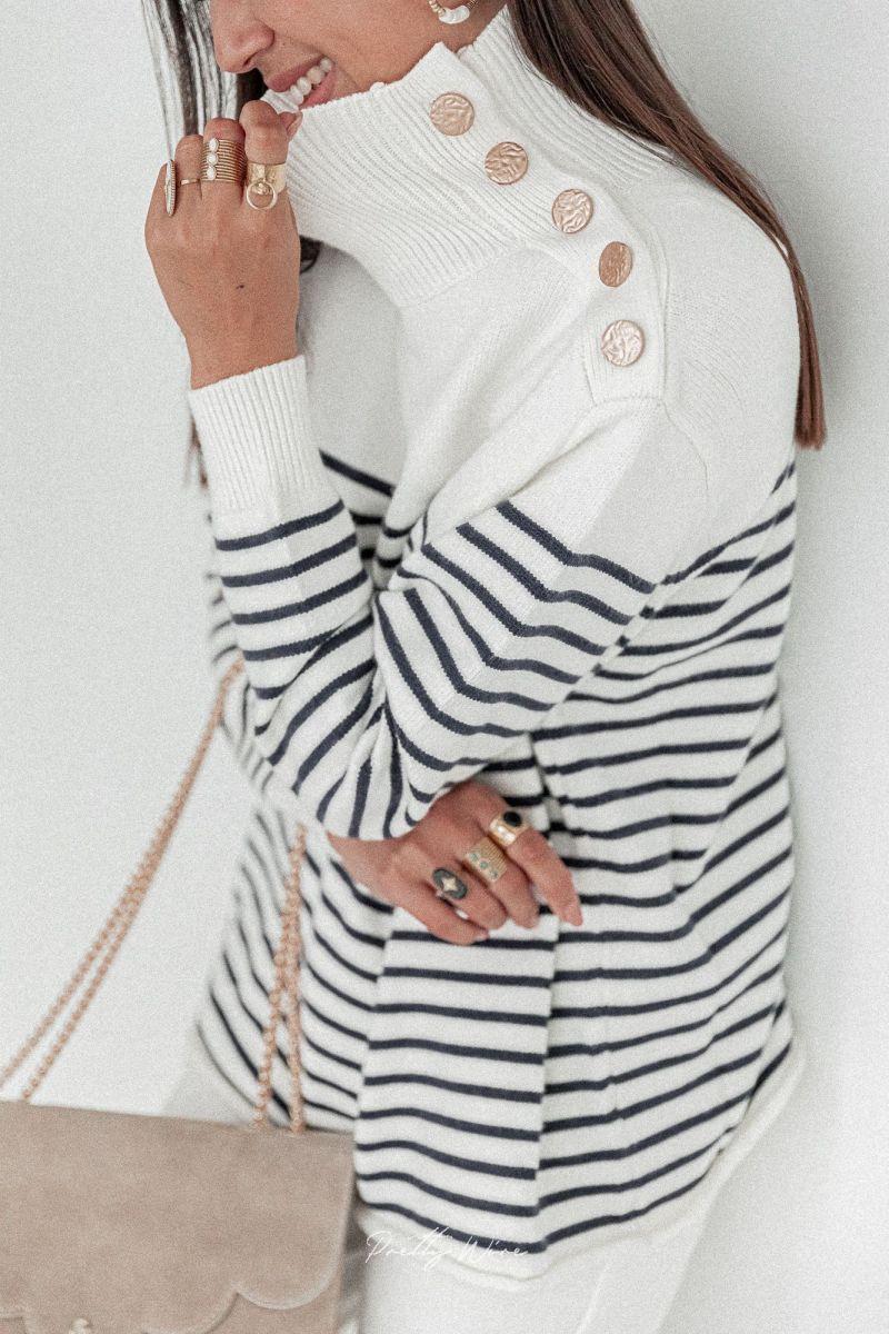 MARIN blanc- Pull marinière