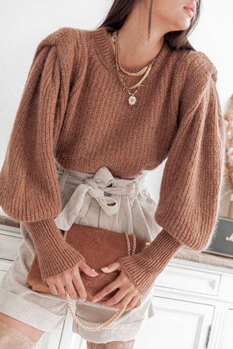 ADELE Camel - Maille à épaulettes