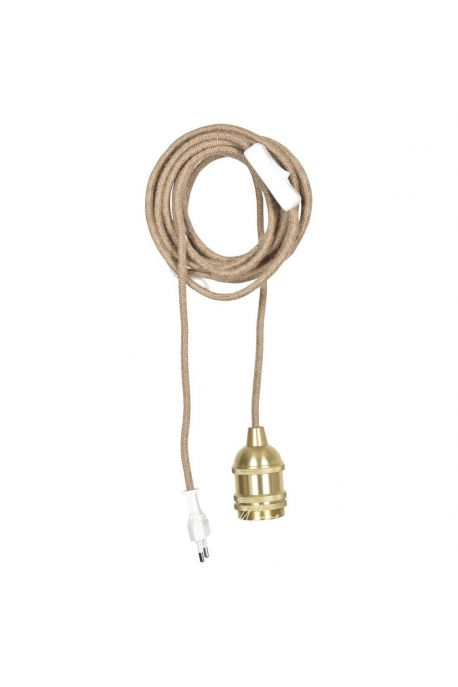 Suspension Douille doré satiné câble corde naturel avec prise et interrupteur (L.400cm)