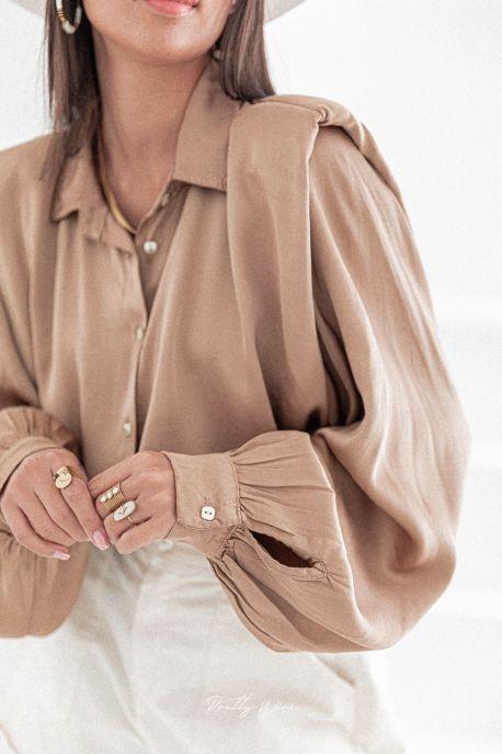 LISE Camel - Chemise épaulettes