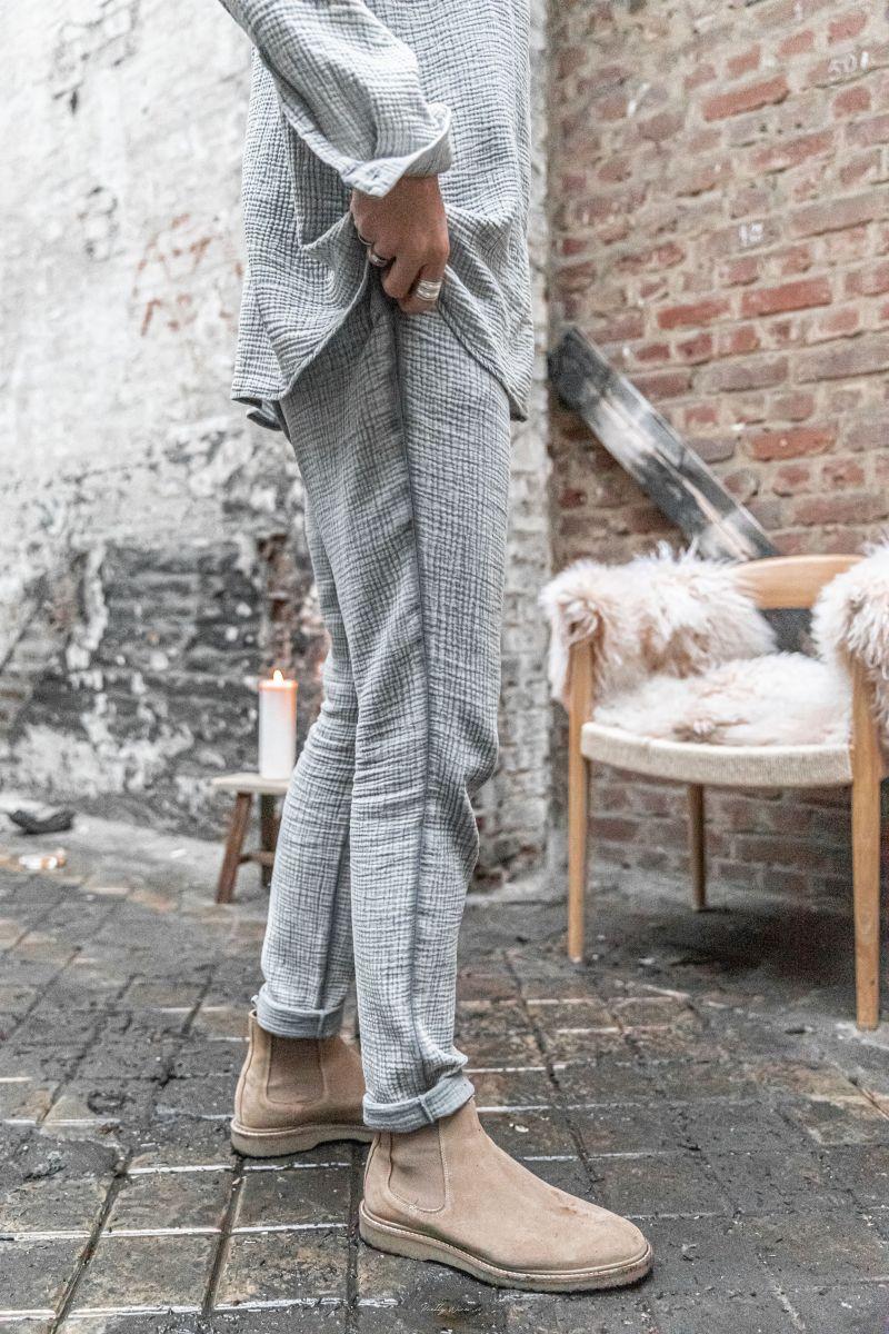 [Arlo] Gris - Pantalon en Gaze de Coton