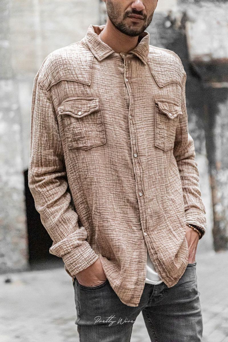 [Nomade] sable - Chemise Gaze de coton
