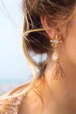 Boucles d'oreilles pompons gris