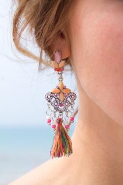 Boucles d'oreilles pompons multicolores