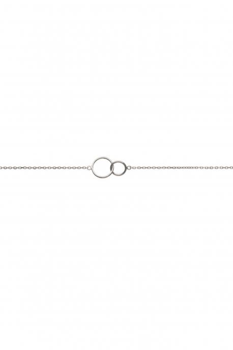 Bracelet double anneau argent
