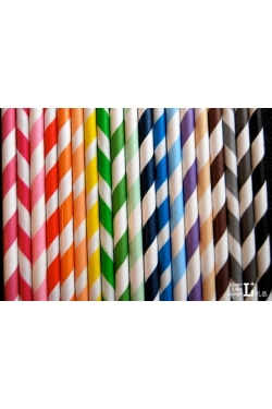 Lot de 25 pailles multicolores rayures