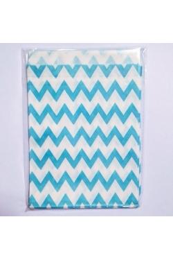 Petites pochettes cadeaux chevrons bleus