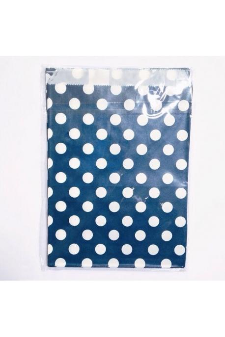 Petites pochettes cadeaux bleu marine pois