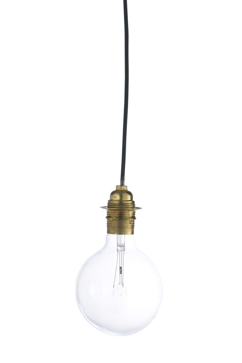 Baladeuse douille dorée câble noir avec prise - 1