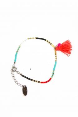 Bracelet Lili rocailles et pompons turquoise