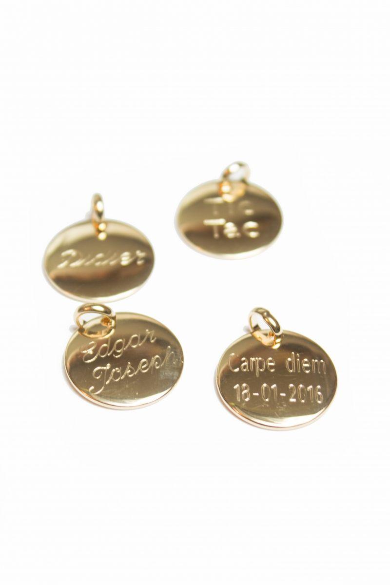 BOMBÉE Doré - Collier médaille à graver plaqué or