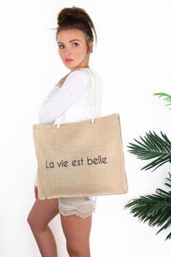 """Moyen cabas """"La vie est belle"""""""