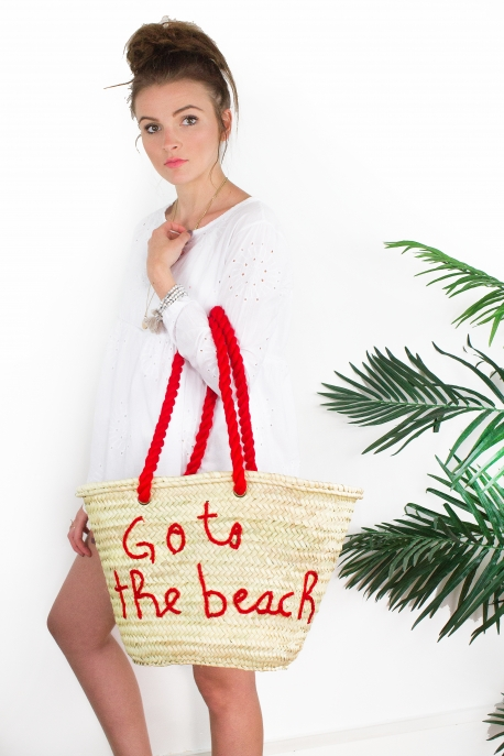 "Panier ""Go to the beach"" rouge"