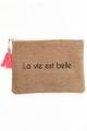 """Grande pochette pompon """"La vie est belle"""""""
