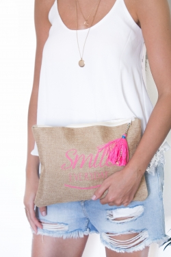 "Grande pochette pompon ""Smile everyday"""