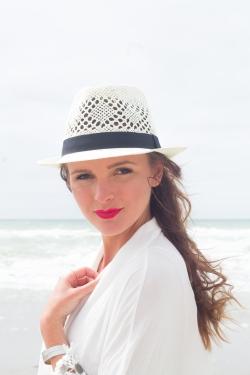 Chapeau Panama bande noire simple