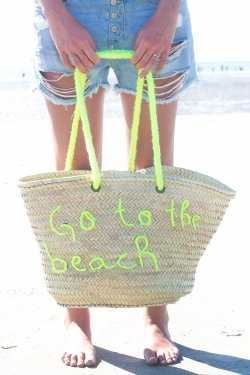 "Panier ""Go to the beach"" bleu"