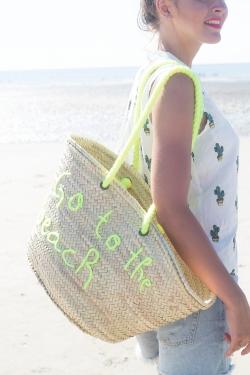 "Panier ""Go to the beach"" jaune fluo"