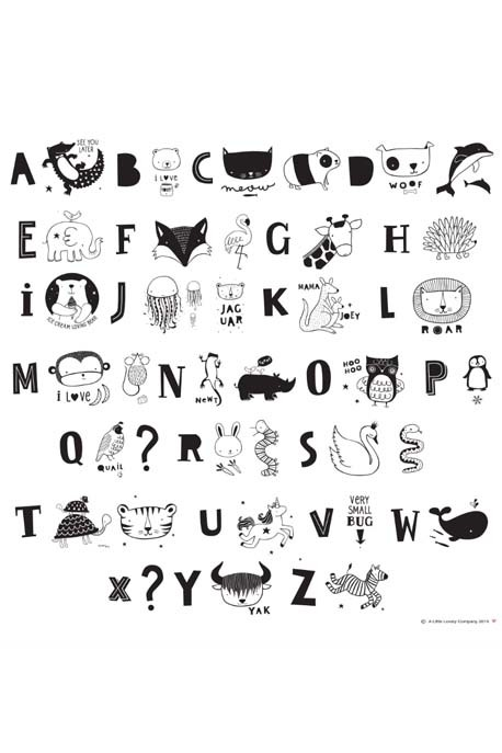 Set de lettres monochrome Kids